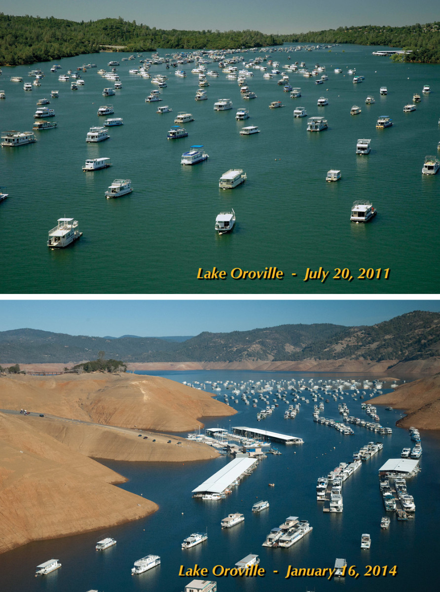 The drought has caused dramatic change at Lake Oroville, a reservoir in the foothills of the Sierra Nevada.