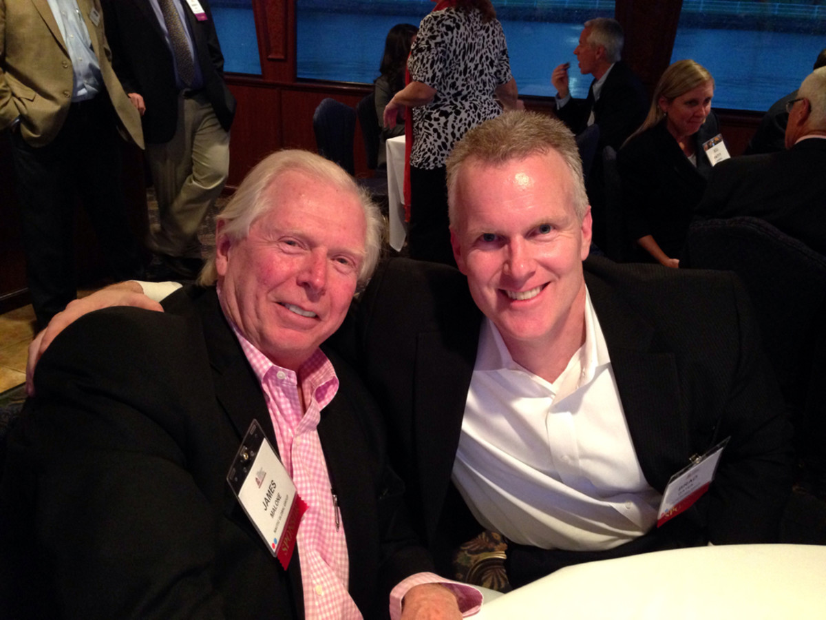 Jim Malone (left), Nautic Global Group board member and the company's former interim chief executive, and the company's new CEO Brad Gates are shown Monday evening aboard Virginia's Jewel during the American Boating Congress welcome reception.