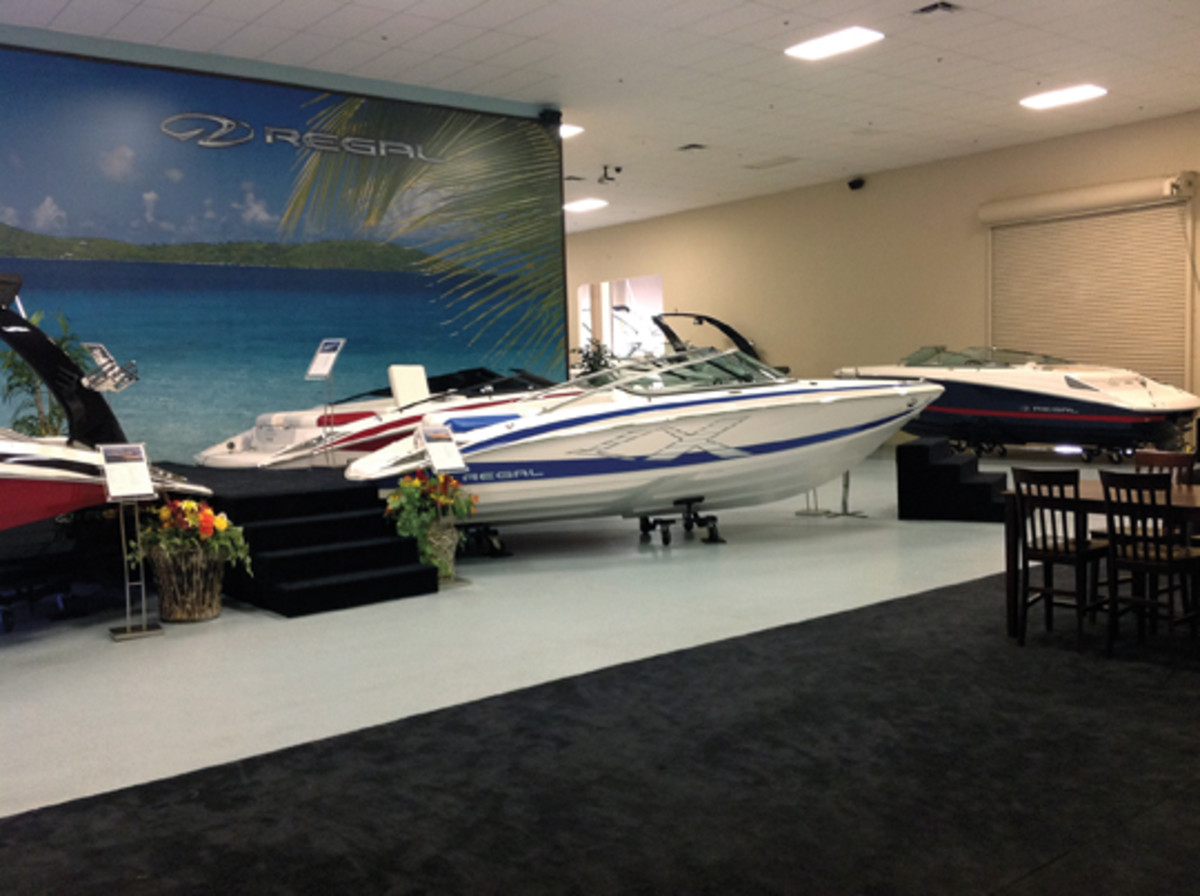 Regal Boats sells directly to customers from this factory showroom.