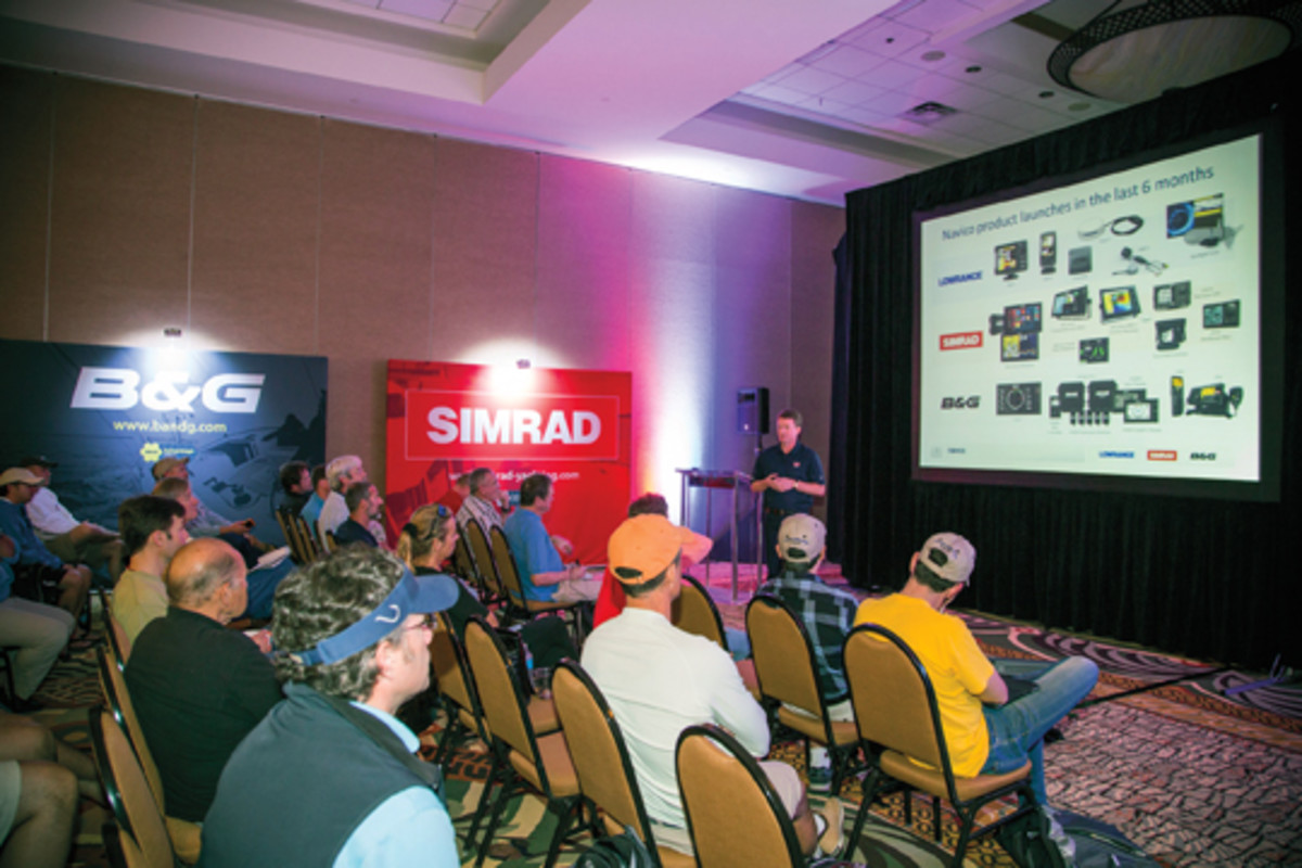 Journalists heard from Navico engineers, marketing experts and managers at the Florida event.