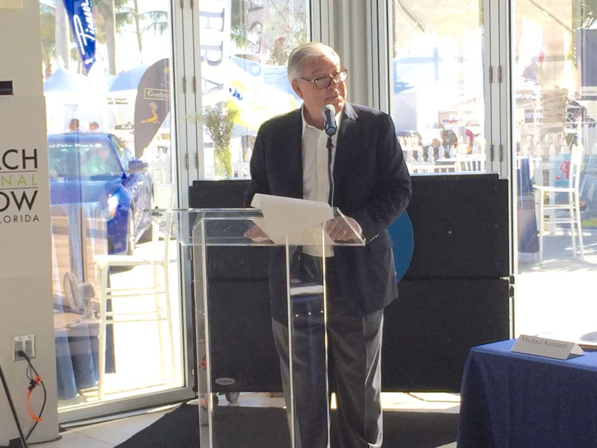 """Show Management CEO Efrem """"Skip"""" Zimbalist III speaks during a media briefing this morning at the show."""