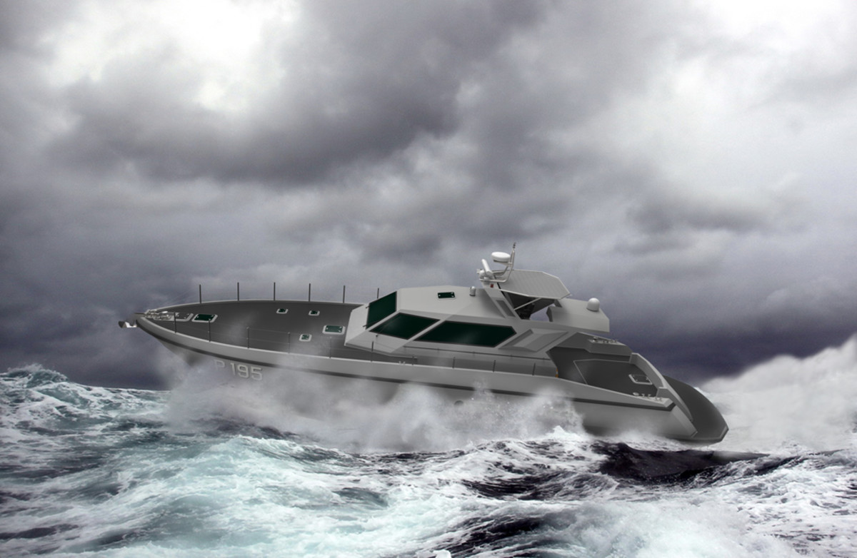 This is a rendering of the FSD 195 — a patrol boat from the Ferretti Group's new security and defense division — that is due out this summer.