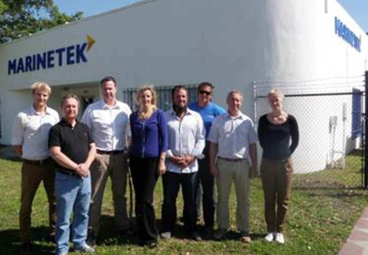 The Marinetek North America team is Ville Leisti, technical director; Francis Werner, controller; Richard Murray, president and managing director; Yelena Reynus, accountant; Kyle Collins, project manager; Carmine Colclough, factory foreman; Bob Berry, project development manager); and Jonna Alanko, design and engineering manager.