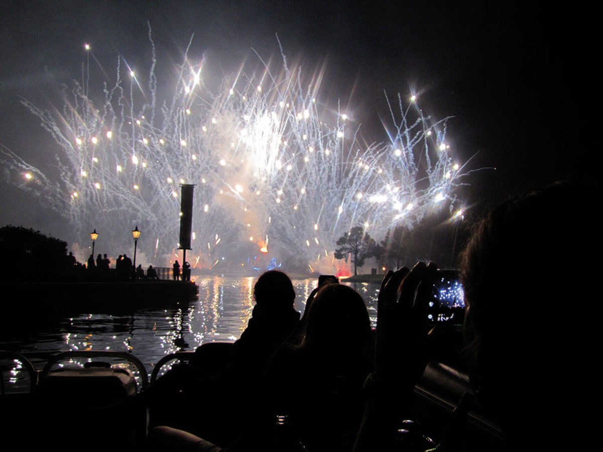 Disney World visitors can rent Sun Tracker pontoon boats to carry them to prime viewing spots for the nightly fireworks.