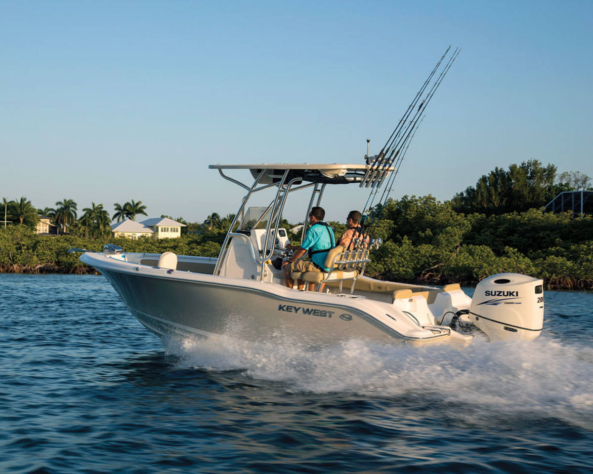 The DF200A was available for testing on the Key West 21 center console and other boats in Key Largo, Fla.