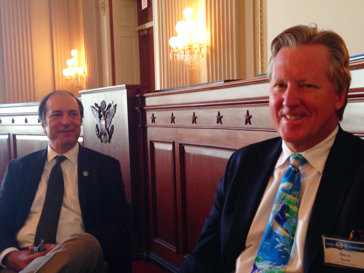 Tony Fins at left, executive director of the Guy Harvey Ocean Foundation, and Steve Stock, foundation president, discuss the organization's issues and causes with Trade Only in the Cannon House Office Building on Capitol Hill during the American Boating Congress.