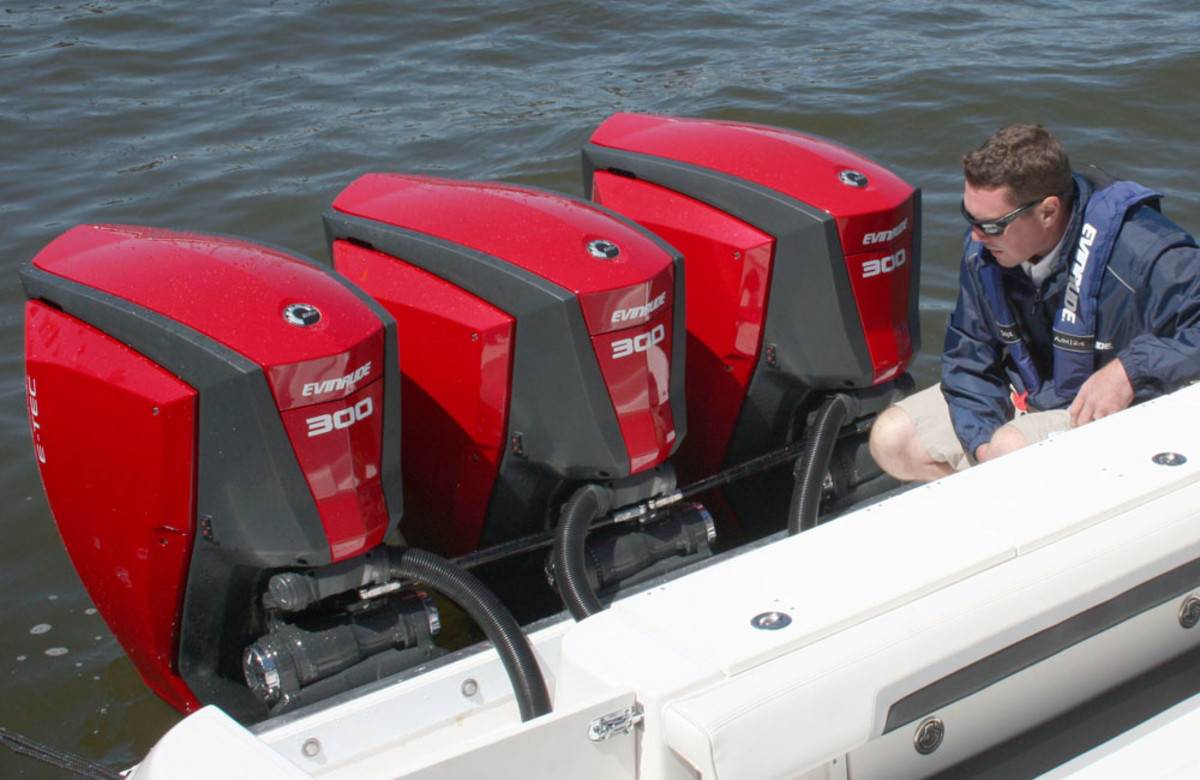 A 35 Scarab Offshore was fitted with three new 300-hp Evinrude E-TEC G2 outboards for demonstration rides for journalists on Friday in Milwaukee.