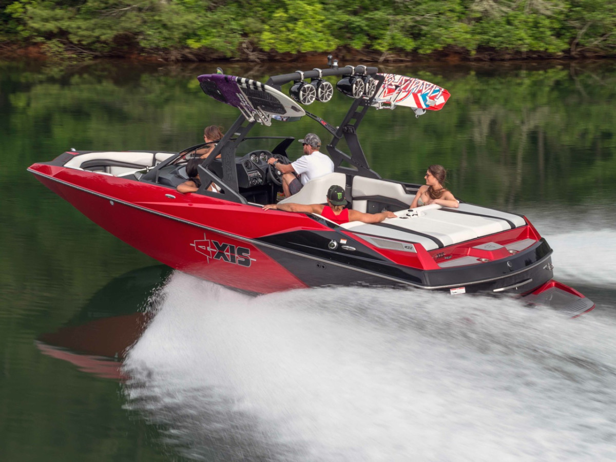 The new Axis Wake Research A22 has a 102-inch beam, upgraded vinyl seating and the new AW15 Tower.