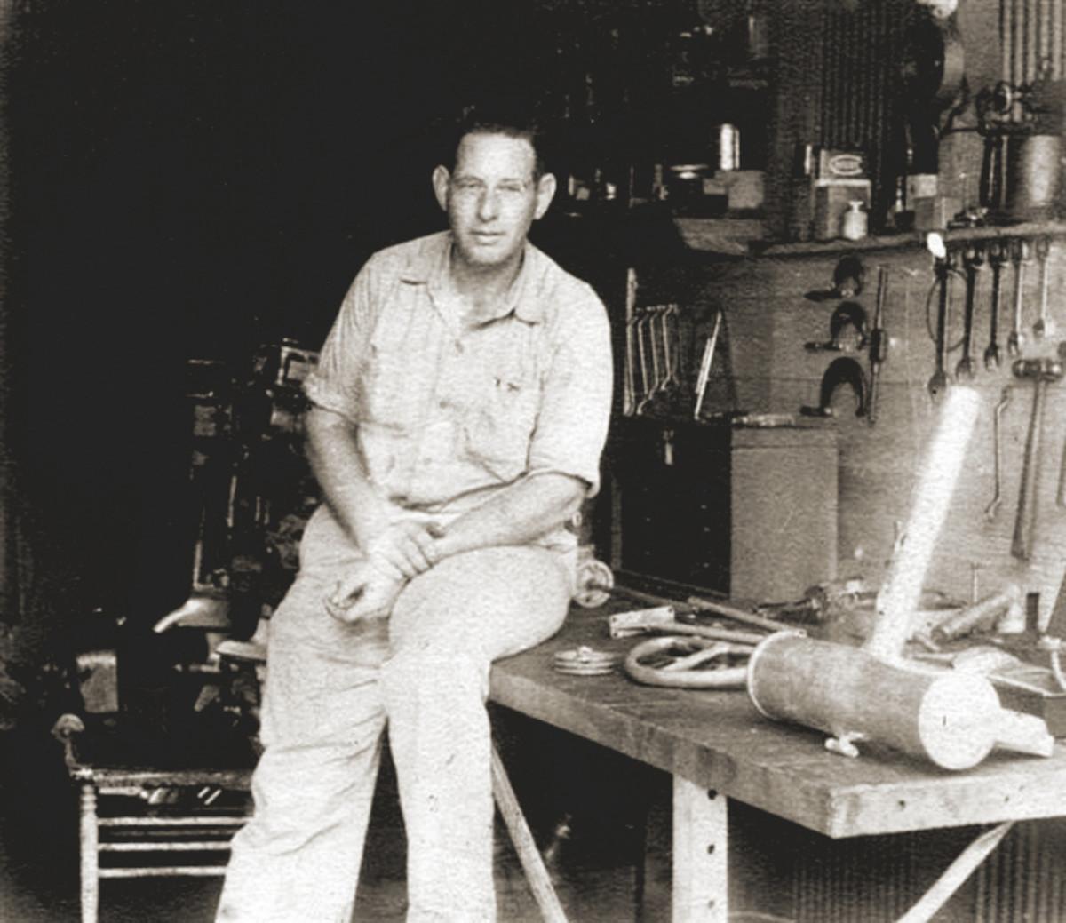 """Frank Huggins, a """"natural mechanic,"""" started Huggins Outboards in a dirt-floor garage in 1941."""