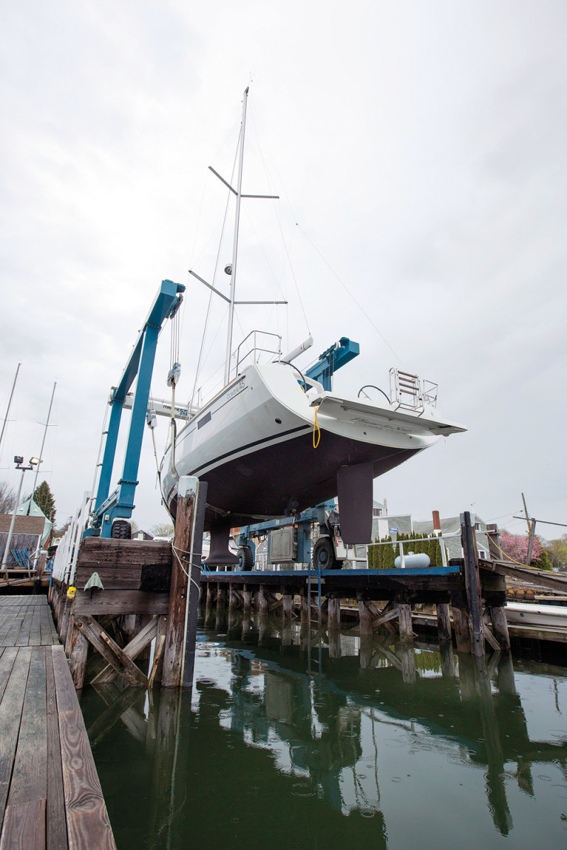 Work and maintenance at Cape yachts in South Dartmouth, MA.