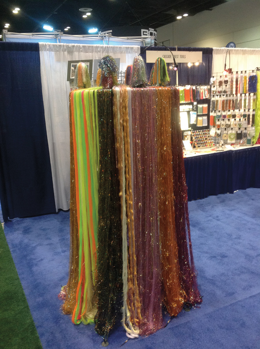 This stand of colorful hair skirts for lures made for an eye-catching part of one display at ICAST.