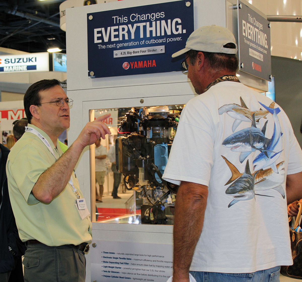 Speciale speaks with a potential customer in February at the Miami International Boat Show.