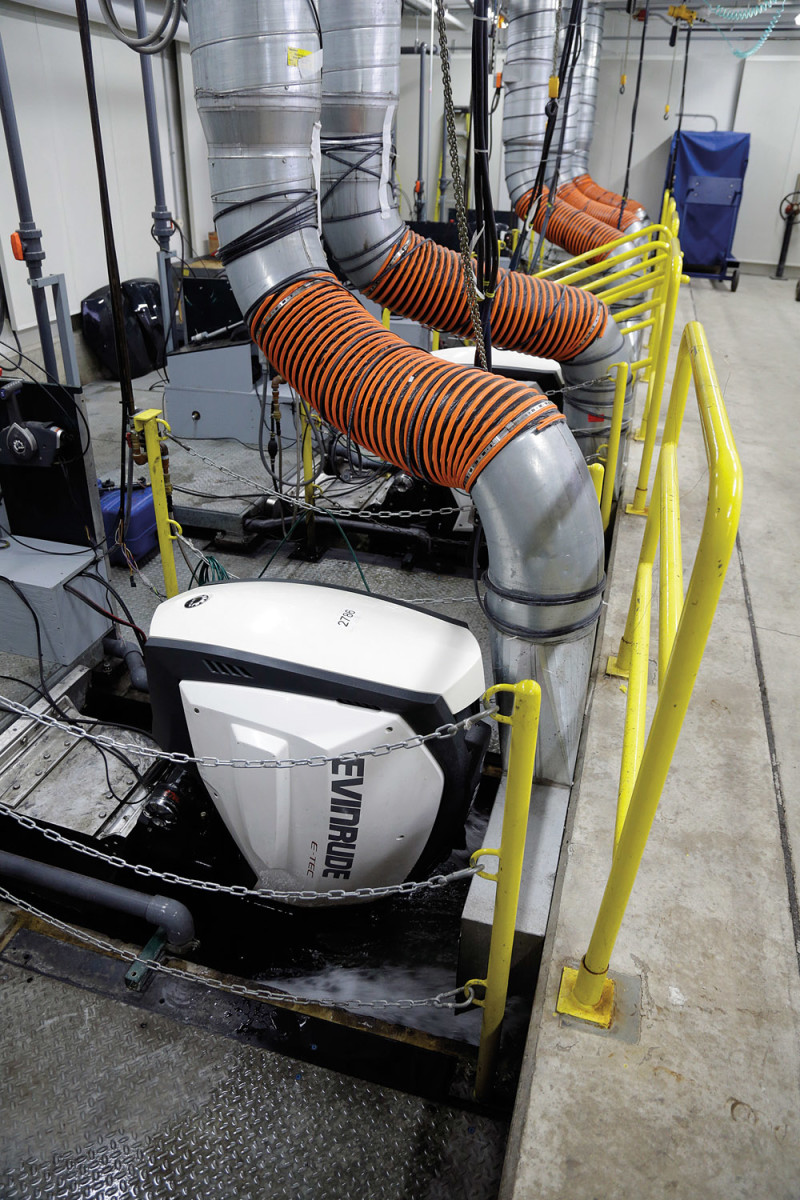 Each new engine is run under climate-controlled conditions while undergoing computer diagnostics for six to eight minutes. The emissions certification lab opened about 18 months ago.