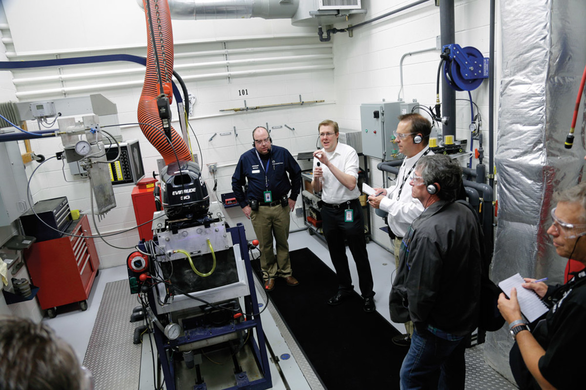 Marine journalists from around the globe were taken on a guided tour of the 33-acre, 400,000-square-foot production plant in Wisconsin.