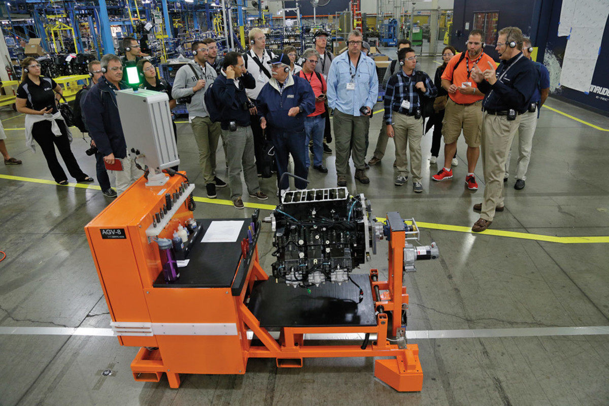 """For G2 production, BRP developed a fleet of wireless-controlled """"automated guided vehicles"""" - carts that move an engine in production from station to station."""