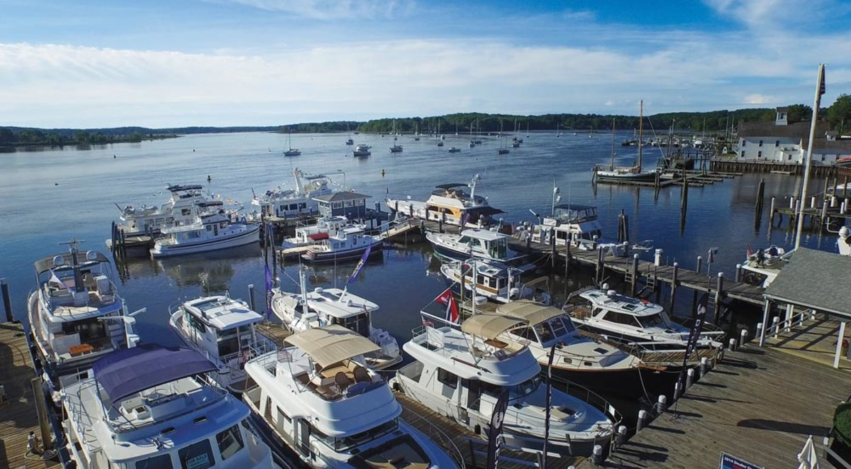 Part of the fleet of 27 cruising boats at the Essex Island Marina in Essex, Conn.