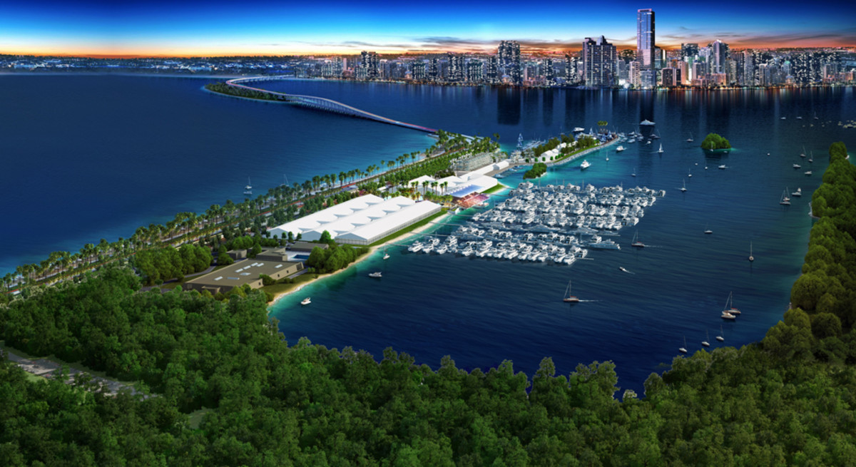 A rendering of the Miami International Boat Show at the new venue.