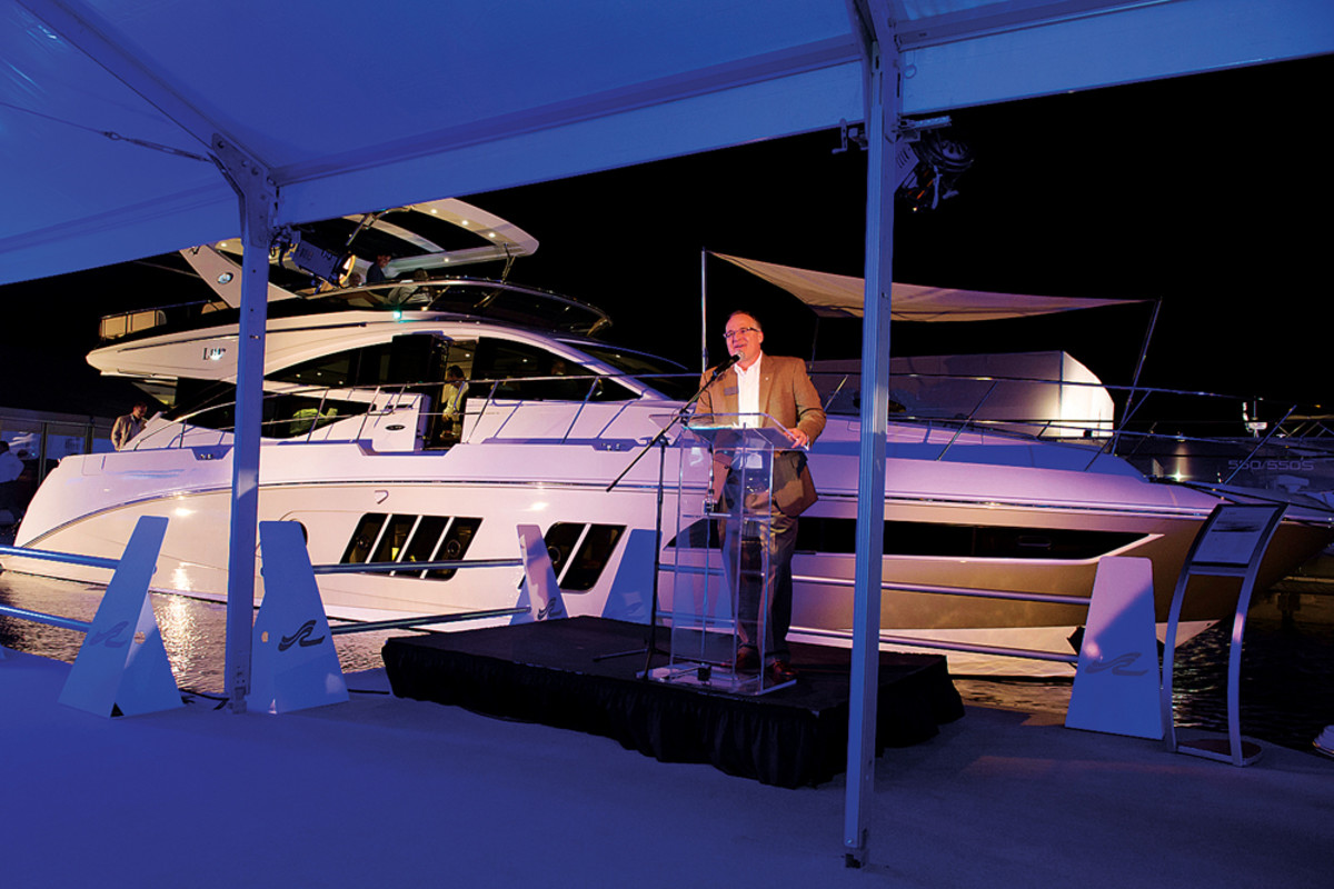 The harsh winter took a toll on Brunswick Corp.'s first-quarter results. Recreation boat group president Tim Schiek is shown speaking at the Miami International Boat Show.
