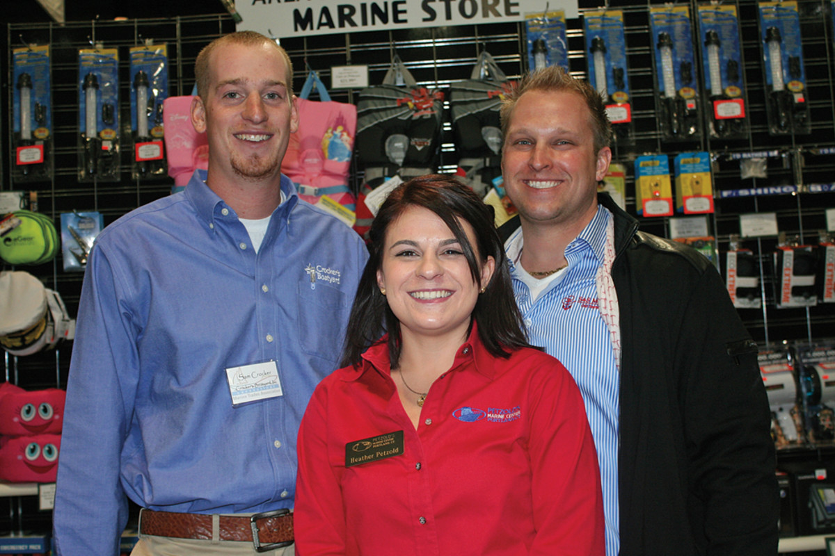 The founding members of Connecticut Young Marine Professionals (from left): Sam Crocker of Crocker's Boatyard, Heather Petzold of Petzold's Marine Center and Scott Sundholm of S&S Marine.