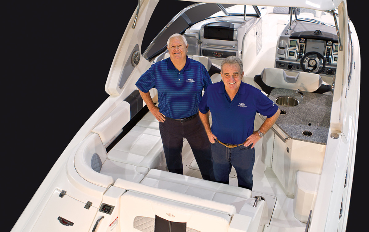 "Lane (at left) left a lucrative career in finance to combine his passion for boating and business, forming Chaparral Boats with William ""Buck"" Pegg."