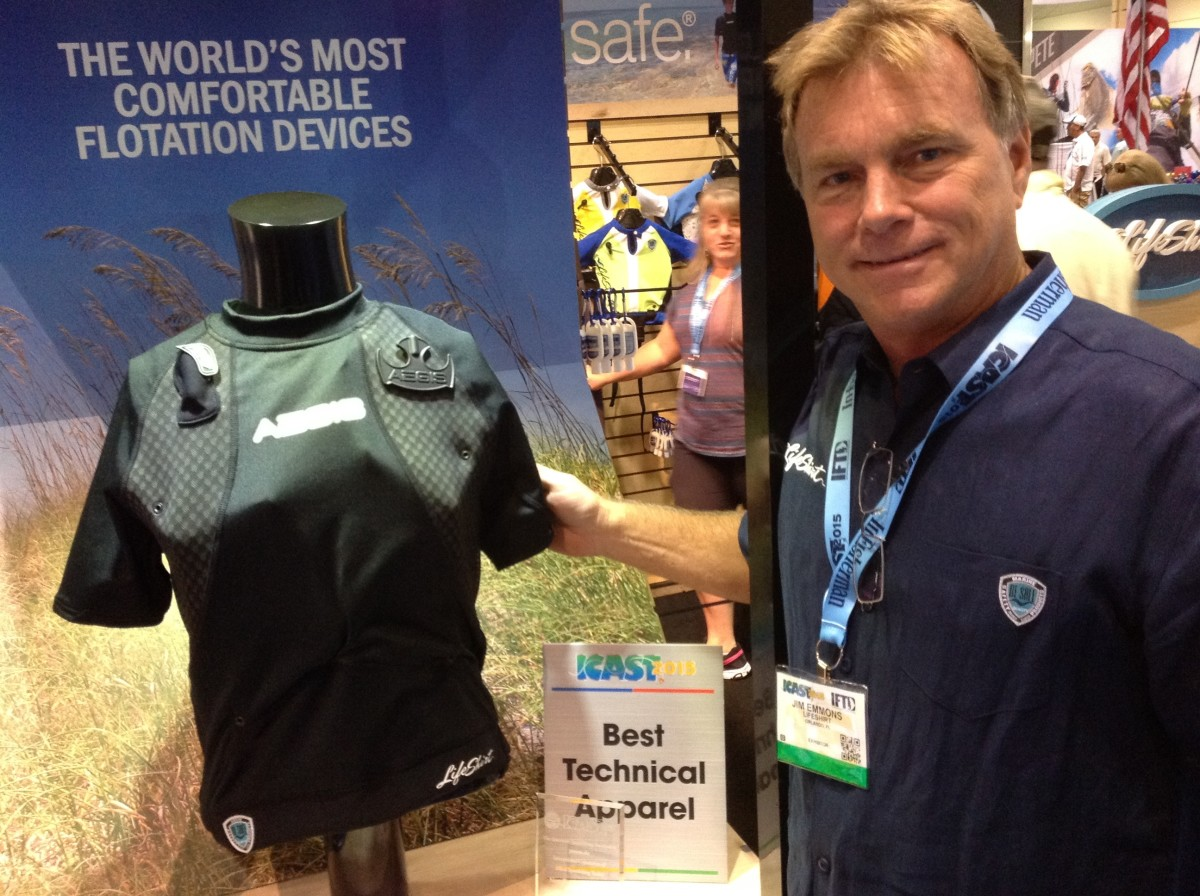 Lifeshirt's Aegis Lifeshirt won Best of Show for technical apparel for its inflatable shirt. Jim Emmons, of Lifeshirt, pictured here, demonstrated the product on Thursday at the show.