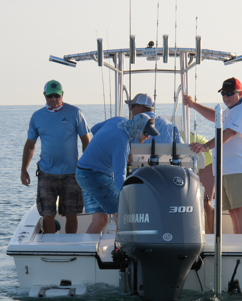 Members of the marine press prepare to fish during a Maverick Boat Co. media event in South Florida on Tuesday.