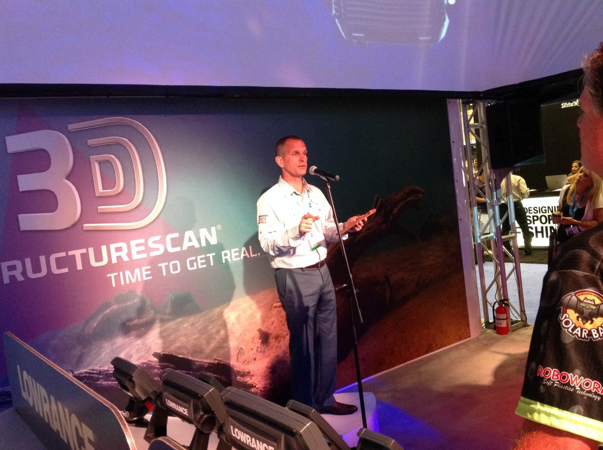 Navico marketing director Gordon Sprouse announces Lowrance's three-dimensional sonar, StructureScan 3D.