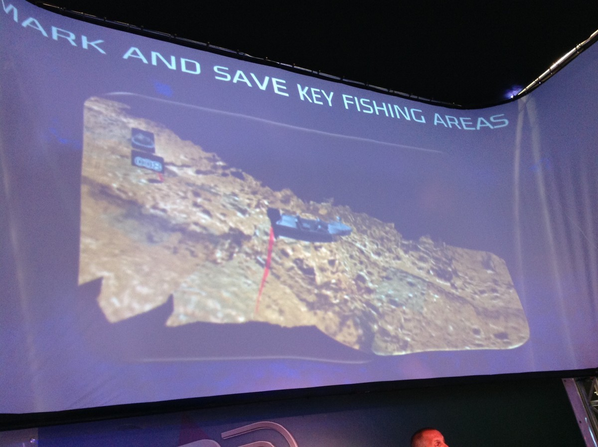 Navico used a three-sided, wraparound overhead projection screen to introduce the three-dimensional sonar technology.