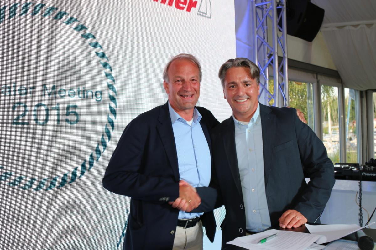 Torsten Conradi (left), managing director of Judel/Vrolijk & Co., is shown with Jens Gerhardt, CEO of Hanse Yachts AG.