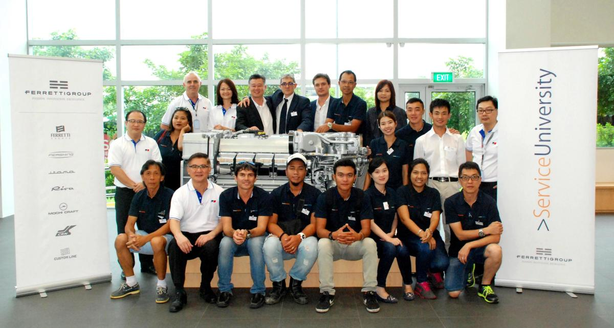 Professionals from seven Asia Pacific countries attended the Ferretti Group's recent training session in Singapore.