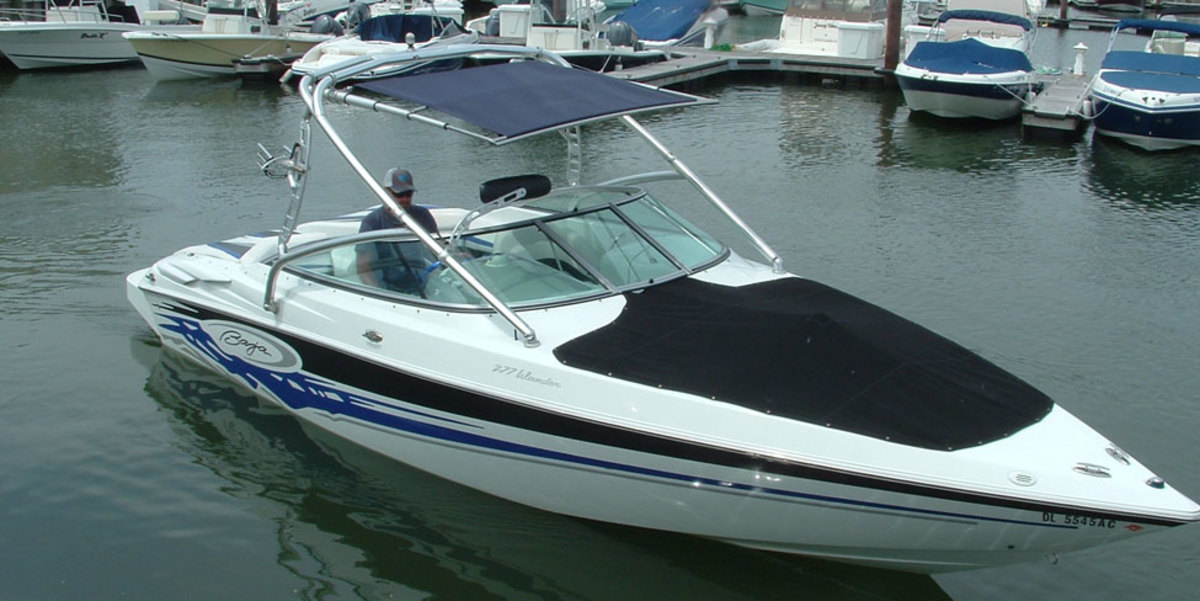 A Baja boat is shown with the SureShade RTX pull-out shade.
