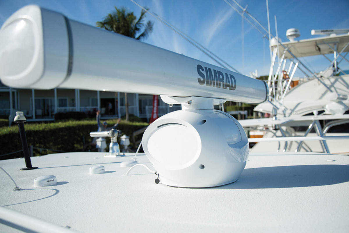 Simrad's new HALO radar uses pulse compression technology and produces target-rich images. Its range stretches for 72 nautical miles.