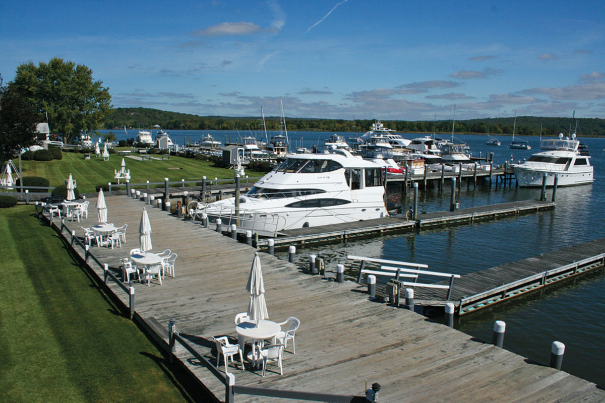 The view across the commercially undeveloped lower Connecticut River from Essex Island Marina has special appeal.