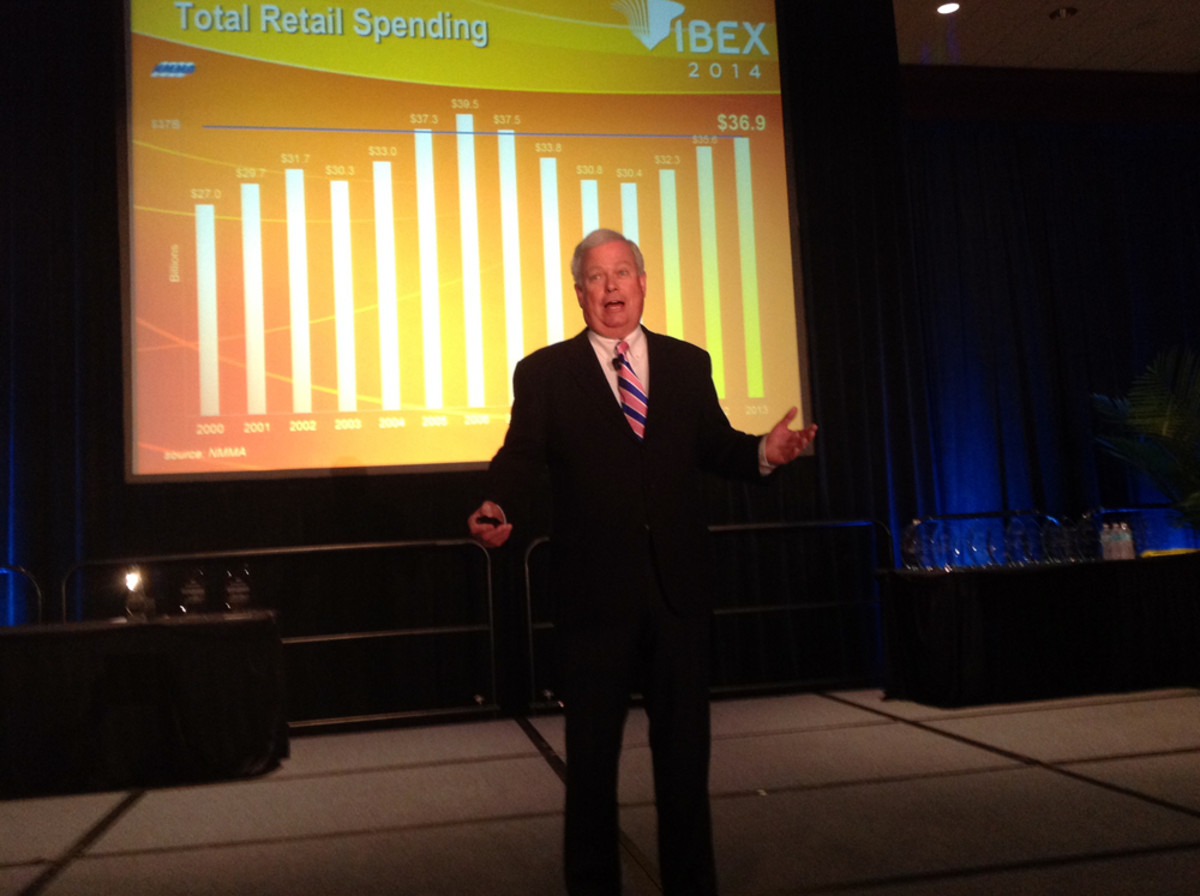 """These are good times in the marine industry,"" NMMA president Thom Dammrich told IBEX conferees this morning in Tampa, Fla."