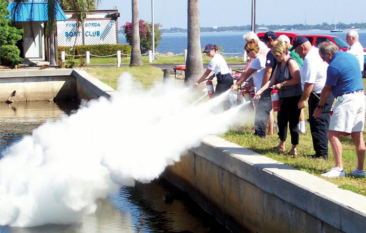 In Punta Gorda, Fla., the city fire marshal leads a class in proper use of fire extinguishers.
