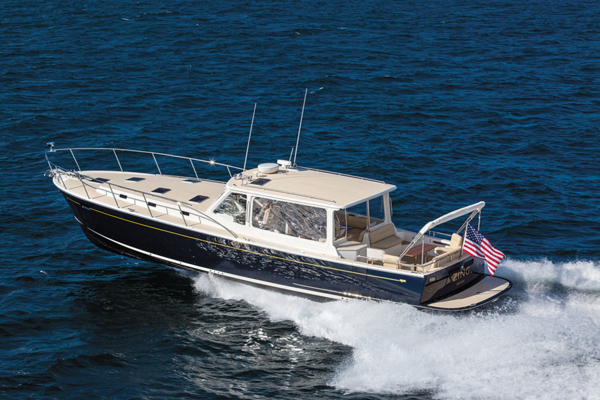 Bob Johnstone's MJM 50z debuted at the Newport International Boat Show.