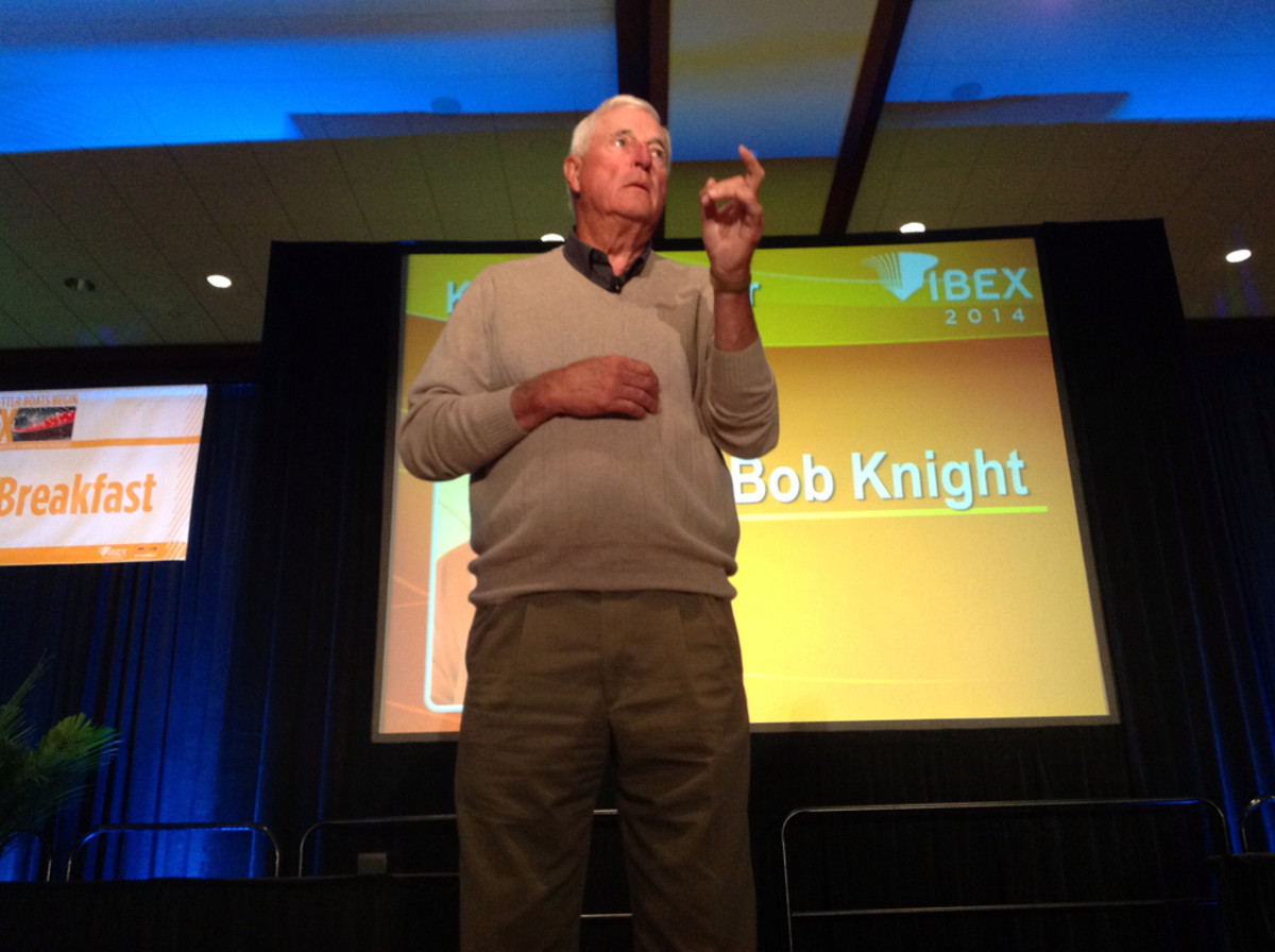 Legendary college basketball coach Bob Knight addresses conferees this morning at the International Boatbuilders' Exhibition & Conference Industry Breakfast in Tampa, Fla.