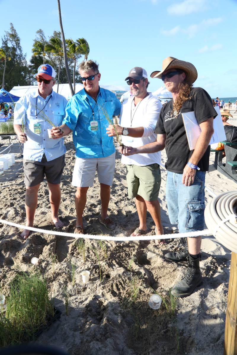 Steve Stock (left), president of the Guy Harvey Ocean Foundation; Guy Harvey; Chris Stacey, founder of the Rock the Ocean Foundation; and Richard WhiteCloud of Sea Turtle Oversight Protection plant sea grass on Fort Lauderdale Beach.