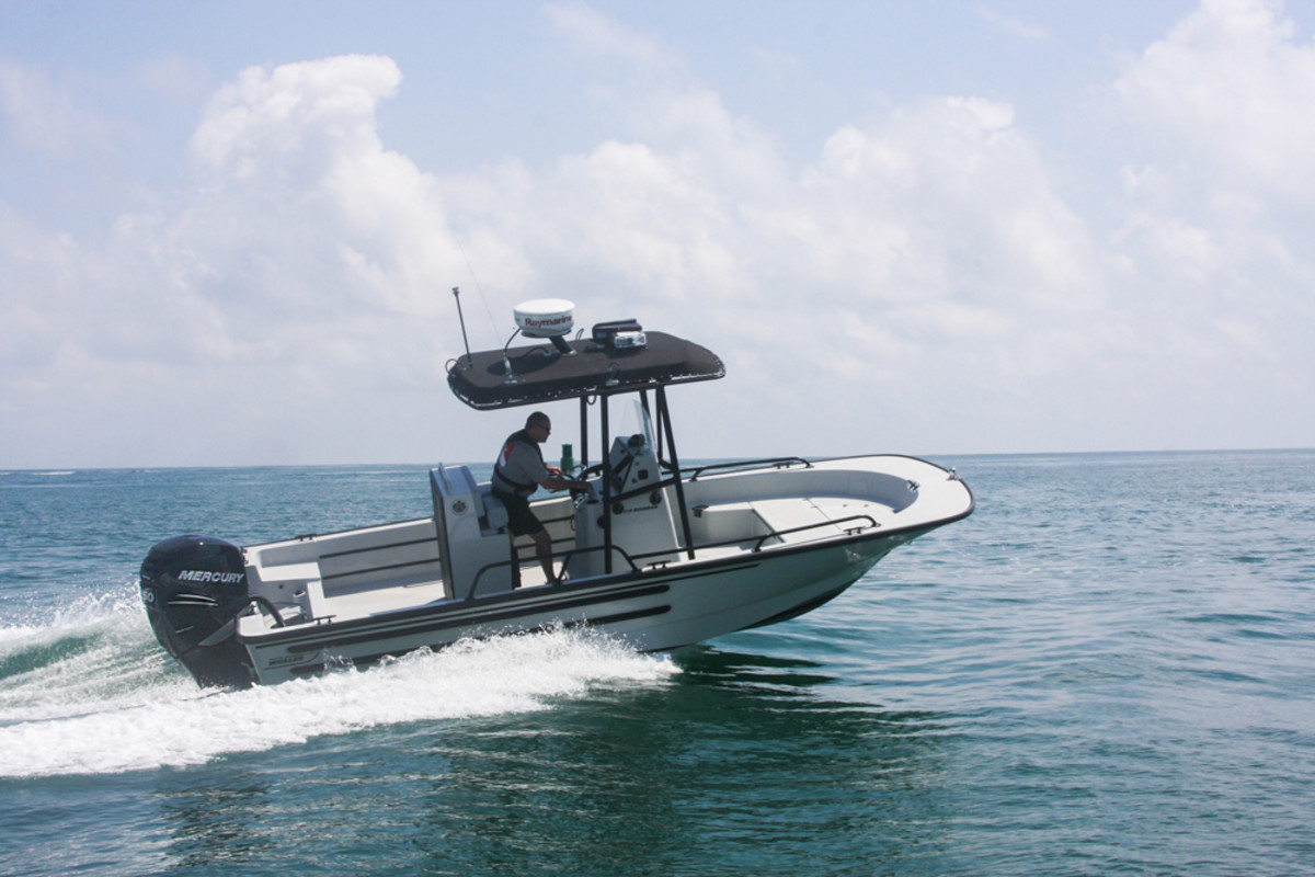 The NASBLA Patrol Edition Boston Whaler 21-foot Guardian has a 250-hp Mercury outboard and is customized for law enforcement professionals.