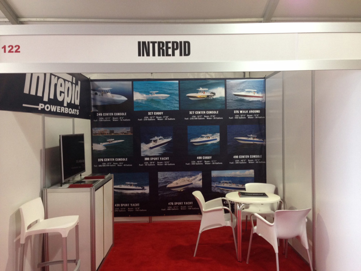 Tents at the show, such as this one for Intrepid Boats, are floored and carpeted.