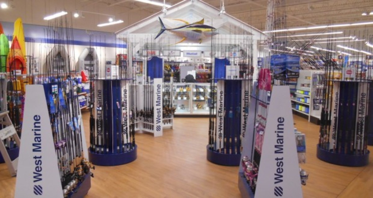 This display at West Marine's store in West Islip, N.Y., is similar to what customers will see at the new location in Braintree, Mass.