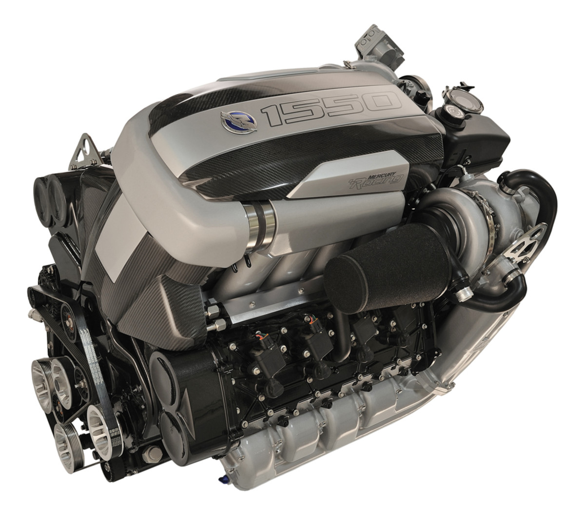 Mercury Racing came out with a gasoline sterndrive engine that can switch between 1,350 and 1,550 hp.