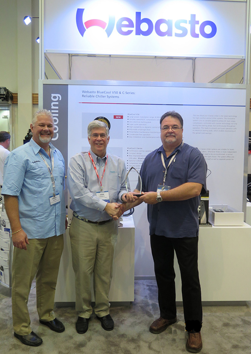 (From left) Webasto aftermarket sales manager Randy Carter, Ocean Marketing president John Thommen and Webasto marine division director David Wollard.