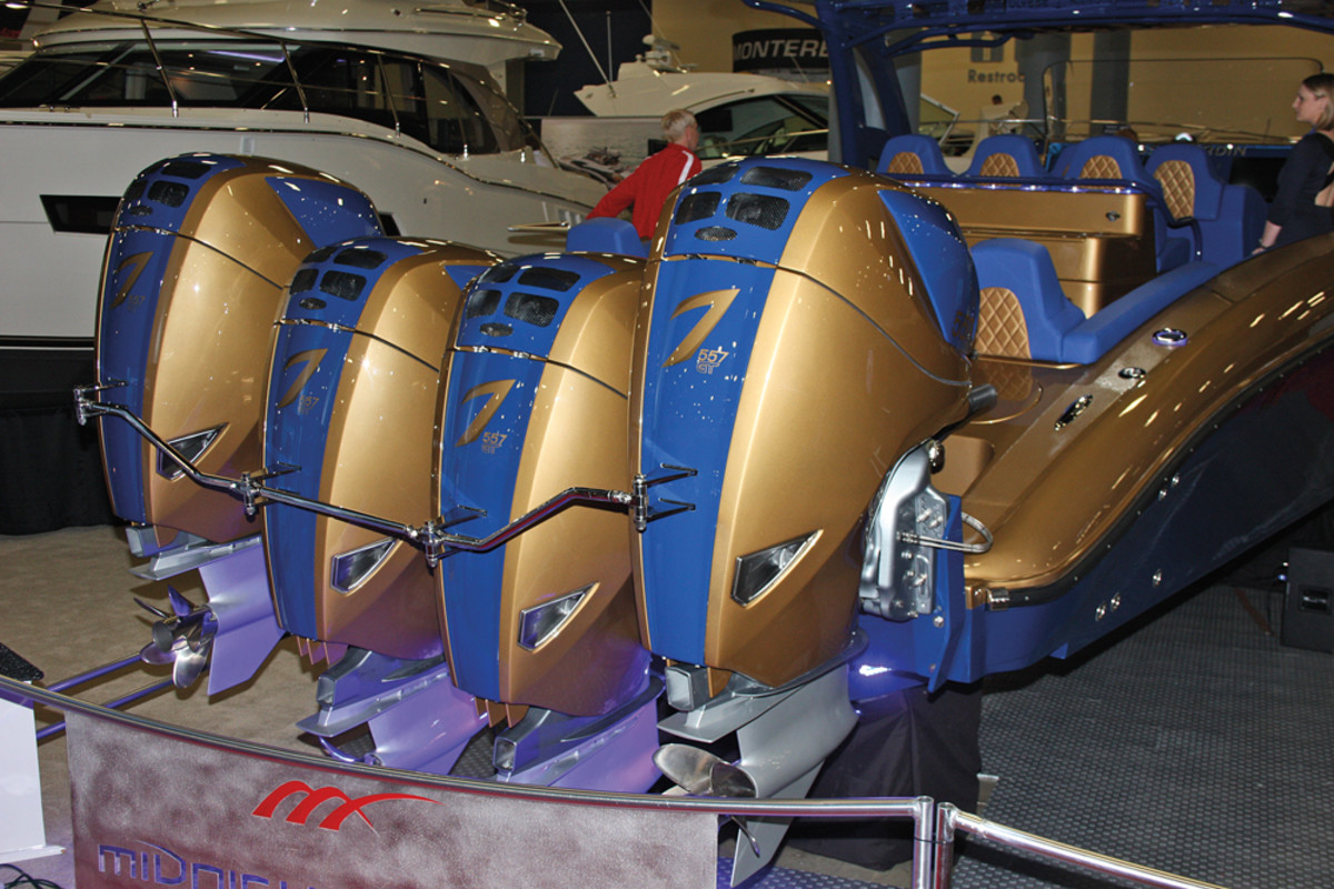 Seven Marine became the first outboard company to break the 600-hp barrier with its 627s (the 557-hp models are shown here).
