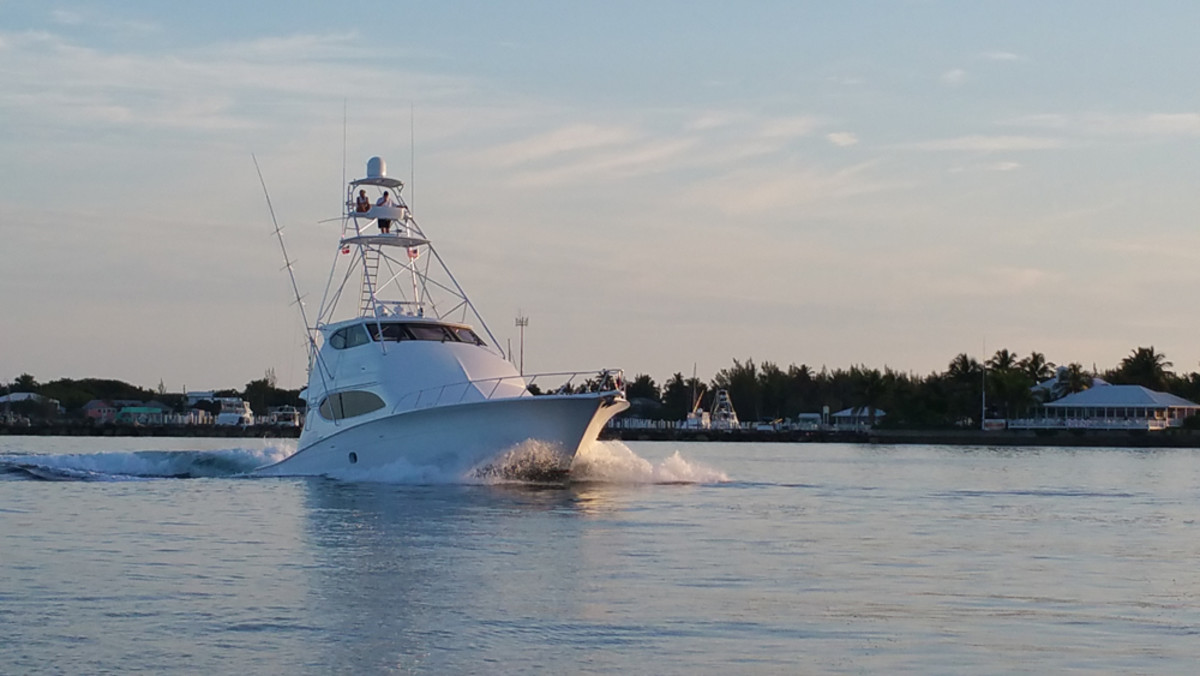 A boat heads out of Orchid Bay Marina in Guana Cay this morning to open the Guana Cay Championship, the first event in the 2015 Bahamas Billfish Championship.