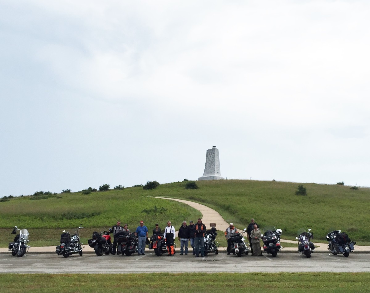 The tour riders visit Kill Devil Hills on Tuesday at the monument that pays tribute to Wilbur and Orville Wright.
