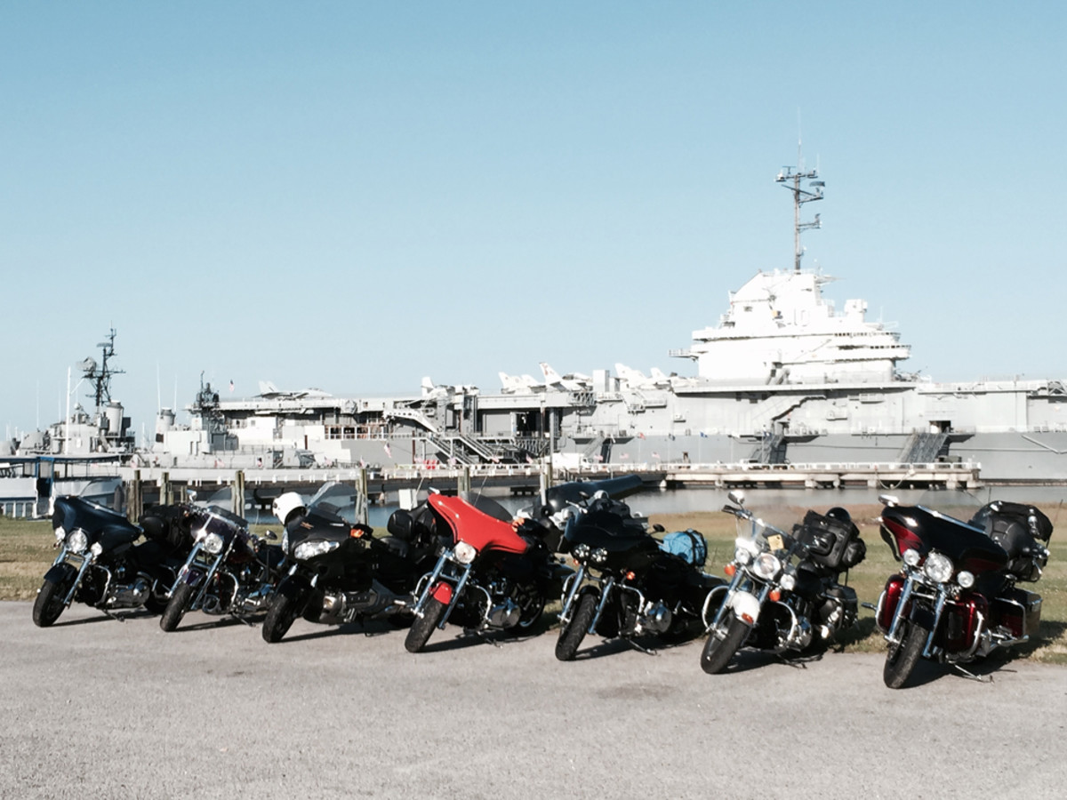 On Sunday, tour riders visited the Patriots Point Naval & Maritime Museum, home of the USS Yorktown and other naval warships, in Mount Pleasant, S.C.