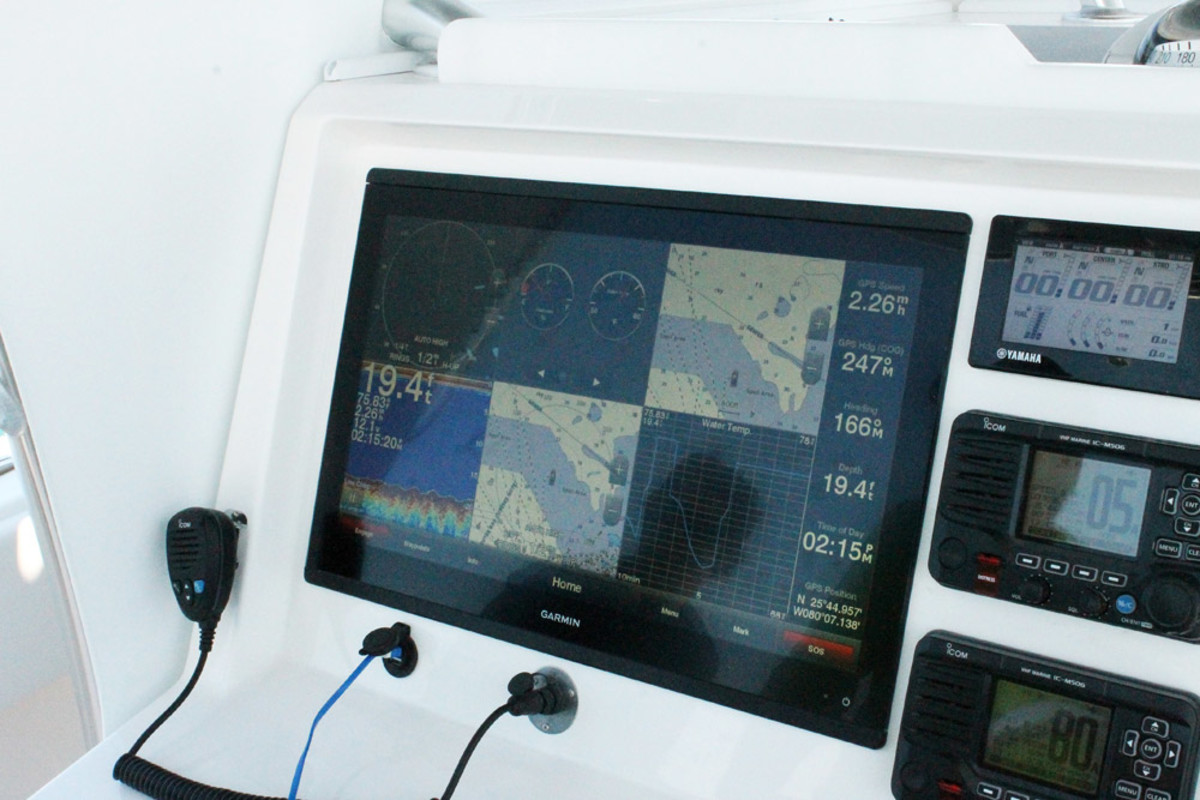 The new GPSMAP 8624, Garmin's largest multifunction display at 24 inches, can show six views.