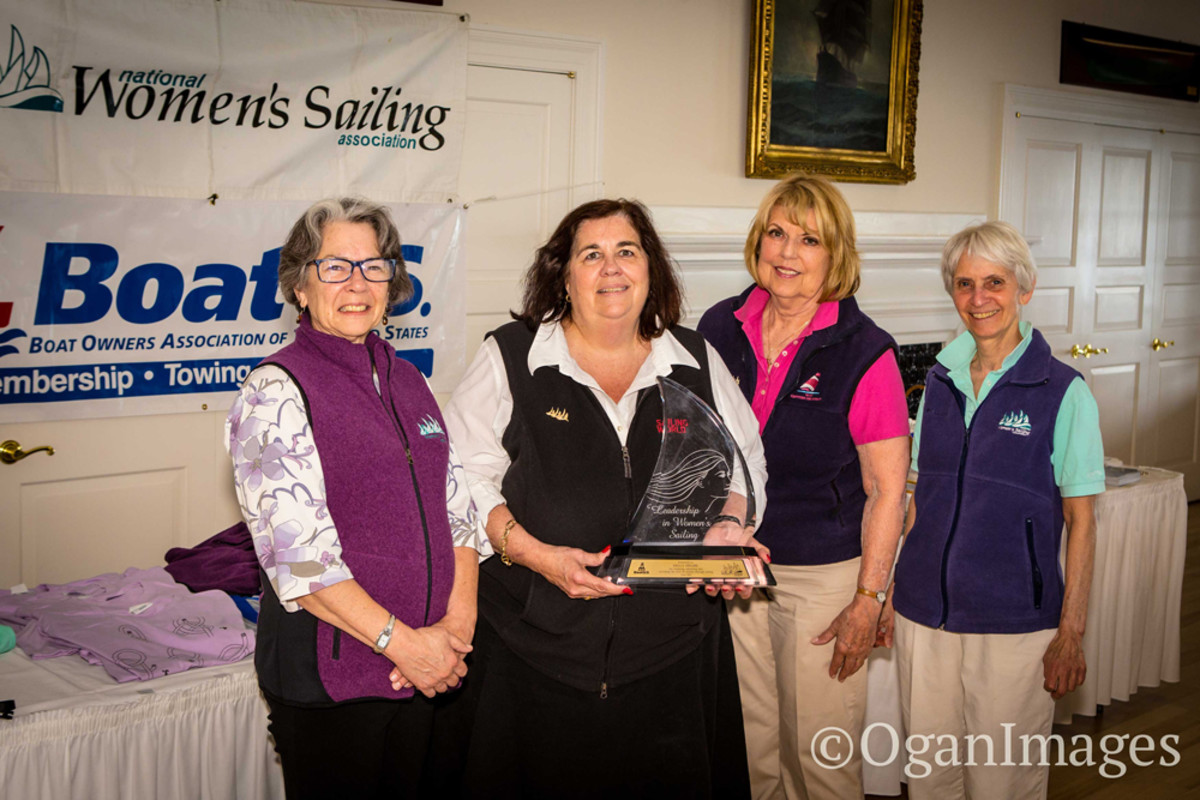 Sally Helme (second from left) received the 2015 Leadership in Women's Sailing Award at the annual conference of the National Women's Sailing Association. She is shown with Scottie Robinson, conference co-chairwoman (left); Linda Newland, president of the NWSA; and conference co-chairwoman Joan Thayer.