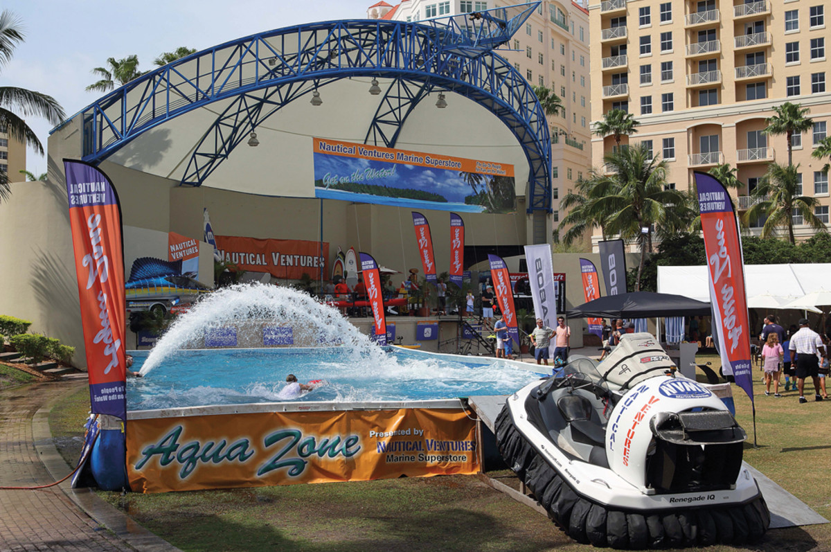 The 40,000-gallon Aqua Zone allowed exhibitors to demonstrate a variety of small craft and water toys.